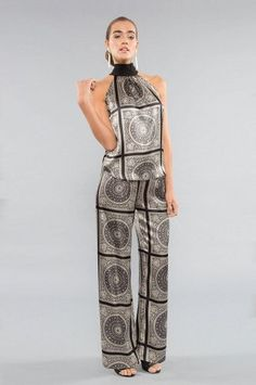Julian Chang Elle Silk Pant in Gray Temple Print