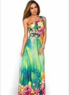 """""""Nalani"""" Green and Orange Tropical Print One Shoulder Maxi Dress Source by ShopSexyDresses Dresses Open Back Maxi Dress, Strapless Dress Formal, Dress Up, Tropical Wedding Dresses, Tropical Dress, Sexy Dresses, Summer Dresses, Formal Dresses, Luau Outfits"""