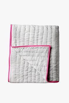 Quilted Throw - Grey with Pink