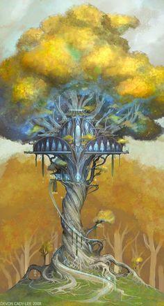 Fairy tree house illustration treehouse 27 ideas for 2019 Fantasy Kunst, Fantasy City, Fantasy Places, Fantasy World, Fantasy Art Landscapes, Fantasy Artwork, Art And Illustration, Illustration Children, Tolkien