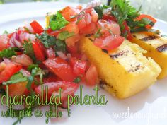 Chargrilled Polenta Strips with Pico de Gallo (GF) Learn Something New Everyday, Polenta, Bruschetta, Salsa, Food And Drink, Mexican, Ethnic Recipes, Pico De Gallo, Salsa Music