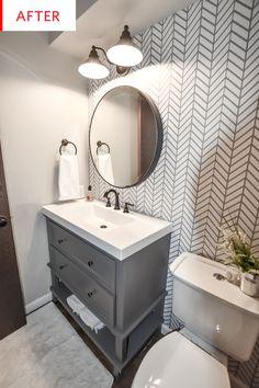 half Bathroom Decor Dark and Dated to Bright and Modern - Powder Bath Remodel - CH Design Co. Diy Bathroom Remodel, Bathroom Renos, Basement Bathroom, Bathroom Ideas, Bathroom Cabinets, Bathroom Makeovers, Tub Remodel, Bathroom Organization, Master Bathroom