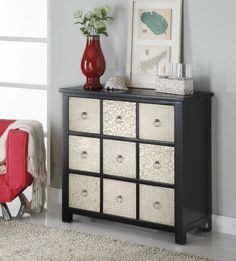 #accent #cabinet metal front with 9 #drawers #cappuccino finish and metal drawer fronts -- very fashion forward #mhf