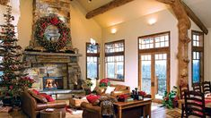 6 Festive Timber Homes Decorated for the Holidays Loft Floor Plans, Log Home Floor Plans, Timber Frame Homes, Timber House, Custom Home Designs, Custom Homes, Open Concept Great Room, Loft Flooring, Cabin Fireplace