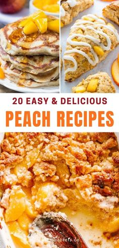 It's peach season! So I made a collection of peach recipes that include drinks, desserts, and more to help you celebrate this sweet summer fruit. #peach #peachrecipes #peachdessert Best Cake Recipes, Good Healthy Recipes, Candy Recipes, Healthy Desserts, Easy Desserts, Sweet Recipes, Soup Recipes, Dessert Recipes, Healthy Breakfast Snacks