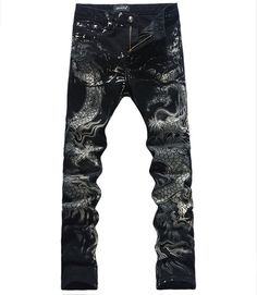 New Domineering Dragon Print Men Jeans Fashion Slim Pencil Trousers