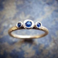 Gold ring with sapphires set in sterling silver!  Sapphire engagement ring- gold sapphire engagement ring.