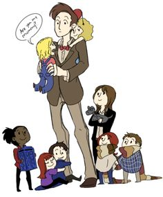 Aw, little doctor who companions! Sarah Jane holding Amy and Rory holding hands, Donna hugging Jack hugging The Doctor's leg, Martha holding a little TARDIS, River on The Doctor's back and The Doctor holding Rose. The Doctor, Doctor Who, Eleventh Doctor, Bbc, Hello Sweetie, Fandoms, Don't Blink, Shows, My Tumblr