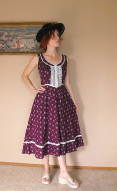Vintage Gunne Sax Dress Purple Floral Prairie Corset by soulrust, $49.99
