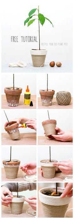 """""""C'era una volta un vecchio vaso di terracotta in cui viveva un seme di avocado..."""" Come mettere a nuovo un vecchio vaso di terracotta con questo semplice tutorial! By Jo handmade design:"""