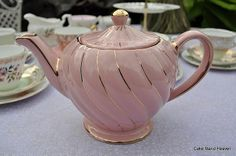 vintage sadler pink teapot, I have this one. Vintage Tea Parties, Vintage Party, Pink Teapot, Teapots And Cups, Teacups, China Tea Cups, Chocolate Pots, Sweet Tea, Tea Cup Saucer