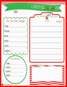 High Quality Childrens Christmas Wishlist Printable Within Free Christmas Wish List