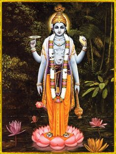 """Vishnu standing on a lotus  Artist: Jadurani devi dasi    """"Yet in this body there is another, a transcendental enjoyer who is the Lord, the supreme proprietor, who exists as the overseer and permitter, and who is known as the Supersoul.""""~Bhagavad gita as it is 13.23"""