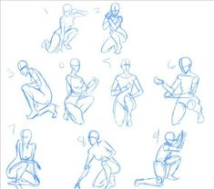 drawing poses kneeling pose reference sitting manga figure fighting anime stances body positions draw base human sketches drawings gesture side