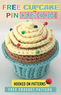 Free Cupcake Pin Cushion Crochet Pattern - A cute life sized stuffed and weighted cupcake, perfect for storing your pins. You can use this free pattern to make play food too. A great scrap yarn projec Crochet Pattern Free, Sewing Patterns Free, Free Sewing, Crochet Patterns, Sewing Tips, Sewing Hacks, Sewing Tutorials, Sewing Ideas, Crochet Cupcake