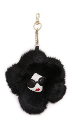 Alice And Olivia Stace Face Fur Flower Keychain Charm In Black Bling Purses, Fendi, Purse Strap, Leather Pouch, Alice Olivia, Handbag Accessories, Purses And Handbags, Girly Things, Just For You