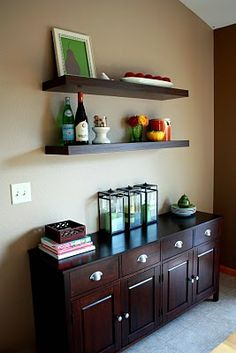 I want to get Ikea Lack shelves like this for over our buffet in the kitchen.