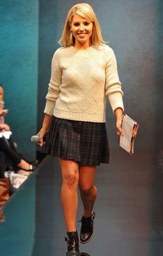 Mollie King and H! by Henry Holland Designer Dark Green Tartan Pleat Skirt - Mollie wears a H! by Henry Holland Designer Dark Green Tartan Pleat Skirt. Frankie Sanford, Tartan Pleated Skirt, Henry Holland, Rochelle Humes, Mollie King, King Fashion, Faux Fur Boots, Style Me, King Style