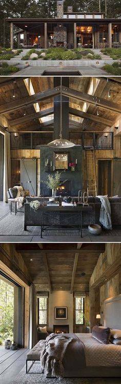 Small Woodsy Cabin - features a cozy farmhouse style in Napa Valley - by Wade Design Architects : onekinddesign Farmhouse Homes, Farmhouse Design, Farmhouse Style, Farmhouse Garden, Country Style, Home Decor Kitchen, Home Decor Bedroom, Bedroom Small, Bedroom Loft