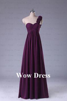 Purple Prom Dress/ Long Prom Dress/ One Shoulder