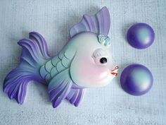 Vintage Purple Fish with Bubbles Bathroom Wall Decor, super cute and chippy perfect for the summer place