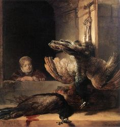 Rembrandt-Still-Life with Two Dead Peacocks and a Girl c. 1639 Oil on canvas, 145 x 135 cm Rijksmuseum, Amsterdam
