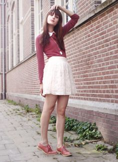 Primark Sweater, Collared Top And Necklace, H Skirt, Romwe Pink Brogues