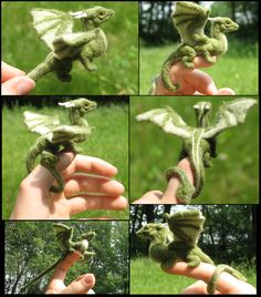 Collage of a felted green dragon, by tallydragon, on deviantart.  Needle felted, and absolutely GORGEOUS.