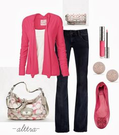 Spring Outfits | Pink for Spring  Jenna Waterfall Cardigan, Tory Burch Flat Shoes, Coach Bag, Coach Clutch  by alttra
