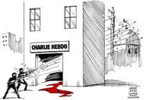 Las balas dibujadas por el caricaturista brasileño Carlos Latuff atraviesan la sede de Charlie Hebdo y acaban por estallar en una mezquita situada detrás, la «otra víctima» del ataque, según sus palabras..