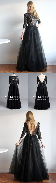 Elegant Long Prom Dresses with Sleeves,Black Formal Evening Dresses Lace,Tulle Military Ball Dresses Open Back,Sexy Wedding Party Dresses A-line #MillyBridal #blackdress #formaldresses #promdress