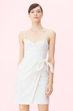 Our Pinstripe Linen Wrap Dress is designed with subtle menswear-inspired pinstripes for a sartorial attitude. Linen Dresses, Formal Dresses, Wrap Dresses, Dress Images, Dress With Sneakers, Rebecca Taylor, Spring Fashion, White Dress, Menswear