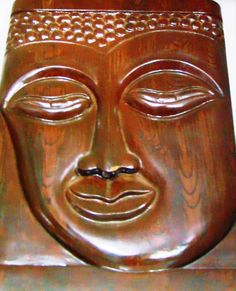 Teak Wood Budha Wall Hanging Brown from Lal10.com