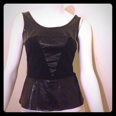 Pleather and cotton peplum top Used once and very nice. Runs small Charlotte Russe Tops