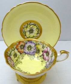 STUNNING Vintage Paragon Poppy lemon yellow floral cup & saucer ~ LOVE this!