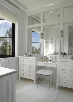 double vanity, make-up vanity, and paneled mirrors
