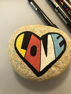 Painted Rock Heart-Love #rockvisaliawithkindness