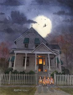 """A haunted painting of your home by """"The Painter of Dark""""  IMAGINE...   your treasured Halloween memories brought to life in an original spooky painting of your home, haunted just for you personally,"""