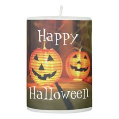 Orange Halloween Jack-O-Lanterns Pillar Candle - photography picture cyo special diy