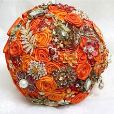 2014 New Wedding Accessories Decoration,Hand Made Artifical Pearl Beaded Brooch Silk Rose Bridal Bouquet.Orange and Red -in Wedding Bouquets from Weddings & Events on Aliexpress.com | Alibaba Group
