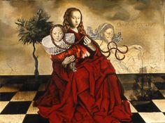 "Margo Selski | Eve's Siren | Media List. icon Eve's Siren. oil and beeswax on linen 30""x40"""
