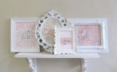 COLLECTION of MAGNET BOARDS Shabby Chic Nursery Wall Decor Vintage Shades of Pink, Grey and White Ornate Magnetic Boards Set
