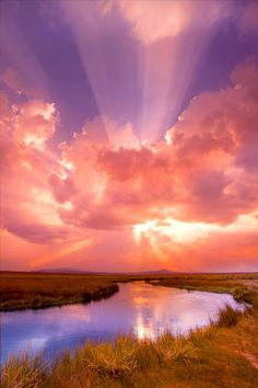 Sunset, sunrise, sunbeams, creek, clouds, water, reflections, Mother nature moments, stunning scenery
