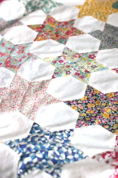 Liberty of London Love - English Paper Piecing stars made from Liberty Lawns - Diary of a Quilter - a quilt blog