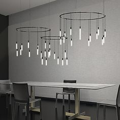 The Sonneman Suspenders Triple Ring Multi Light Pendant features three circular metal elements from which hang a series of LED lights. This dazzling pendant is ideal for contract settings. Schonbek Lighting, Metropolitan Lighting, Corbett Lighting, Nelson Bubble Lamp, Multi Light Pendant, Hudson Valley Lighting, Diffused Light, Lighting System, Modern Lighting
