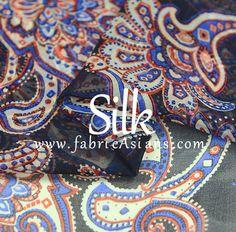 BUY SILK Fabric.  Blue Paisley Silk.  Silk Chiffon. by fabricAsians