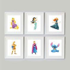 Disney Princess Watercolours by DarlingPrintsUK on Etsy