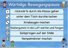 http://www.ideenreise.blogspot.de/: Ideenreise, Lehrer Blog, Lehrerblog, Bewegung, Bewegungspause, Lernpause, Bewegungen würfeln, würfelige Bewegungspause