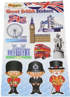 50 British Theme London Attractions Stickers (5 strips of 10 stickers)