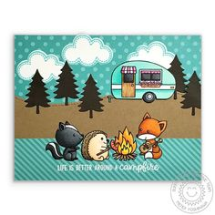 Sunny Studio Stamps Critter Campout Life Is Better Around A Campfire Card by Mendi Yoshikawa